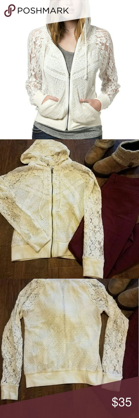 "Miss Me Star Gazer Lace Hoodie Gorgeous crocheted zip-up hoodie with many different patterns of lace blended together. Cream with golden thread interwoven. Sheer throughout, especially in the arms. Fitted at wrists and hips. Excellent condition--no snags or tears. Measures approximately 18"" armpit to armpit and is about 23"" long from top of shoulder to hem. 98% acrylic, 2% lurex. Contrast is 70% cotton, 20% acrylic, and 10% spandex. Miss Me Sweaters"