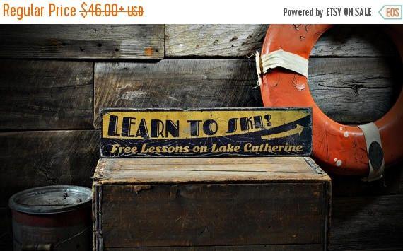 ONE SALE Custom Learn to Ski Free Lessons Lake House Sign