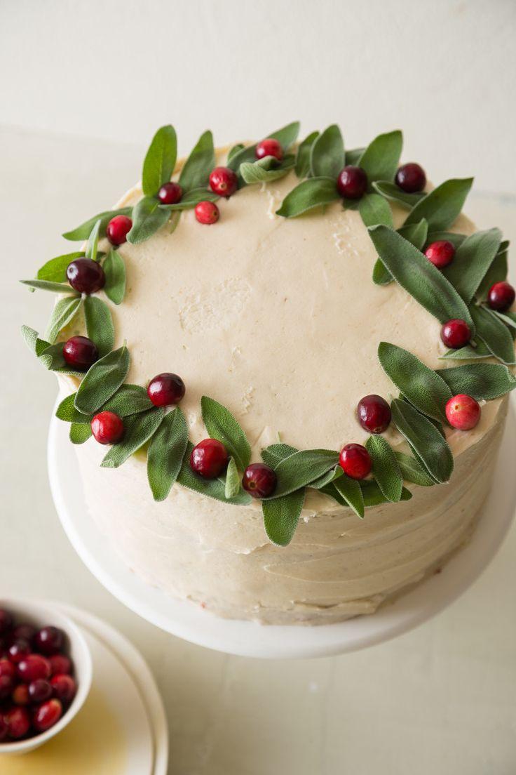 TARTA DE MANZANA Y ARANDANOS (Apple Cranberry Cake with Brown Sugar Buttercream) #TartasFaciles