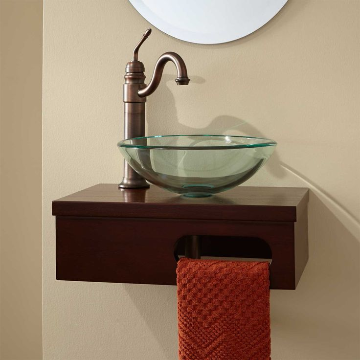 """Messy Sink: 18"""" Dell Mahogany Wall-Mount Vessel Vanity With Towel Bar"""