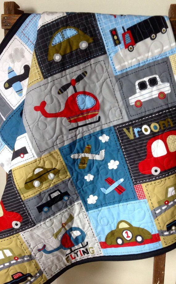 Baby Boy Quilt, Vroom, Vehicle, Patchwork Panel, Denim Blue, Red, Gray, Cars, Trucks, Planes, Helicopter, Crib Bedding, Nursery Bedding