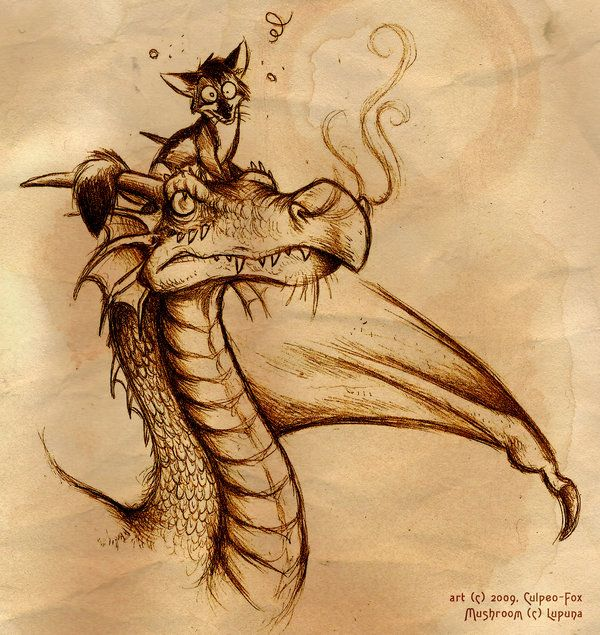 "Dragon and Fox, drawing / Drago e Volpe, disegno - ""Fox on top"", Art by Culpeo-Fox on deviantART"