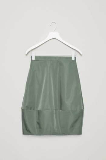 COS image 2 of Concave technical skirt in Sage Green