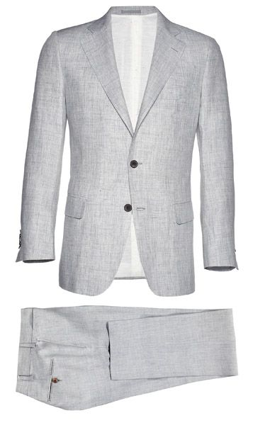 In pure Italian linen and a traditional two-button cut this suit will look great at a wedding right now, as well as for many summers to come.  York light grey plain linen suit ($469) by suitsupply.com   - Esquire.com