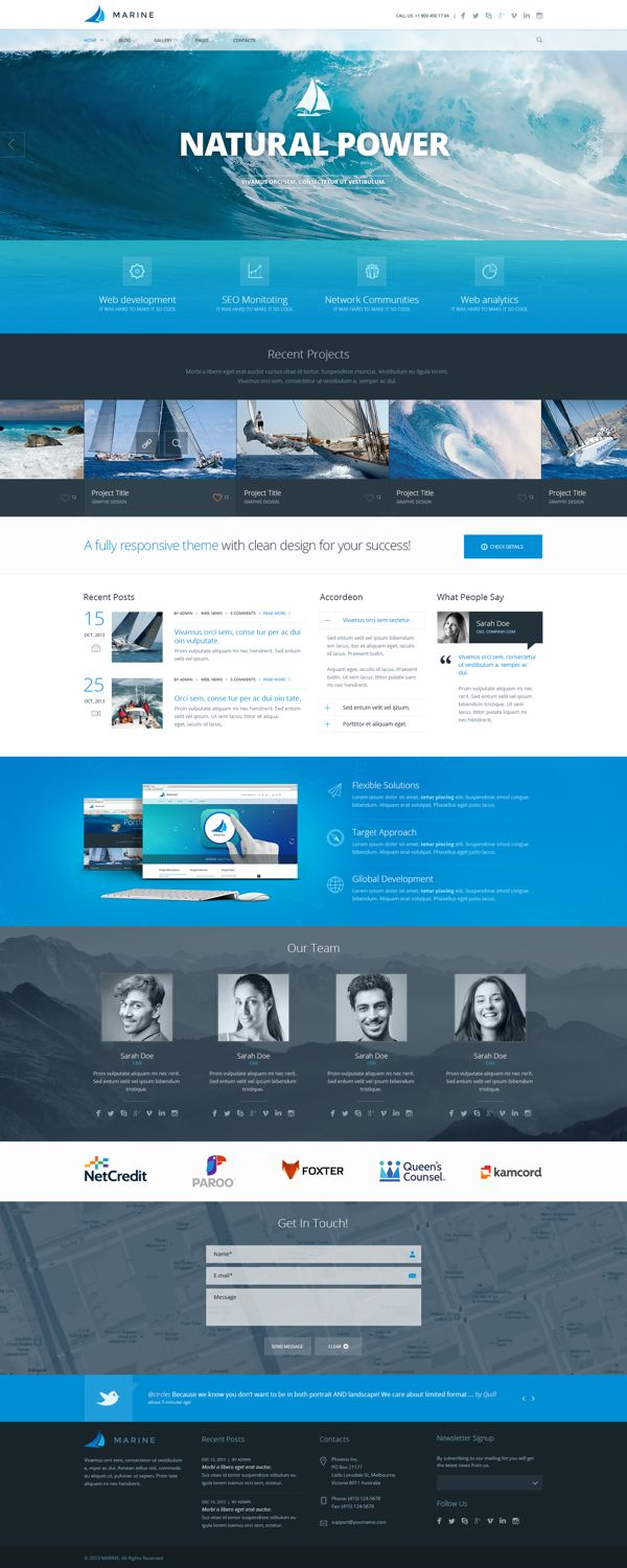 MARINE PSD Theme by Dan Ambrosevich, via Behance