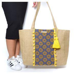 Seshat Création - Le Grand sac cabas Makeba Sac cabas en toile de jute et tissu africain. Pompon jaune