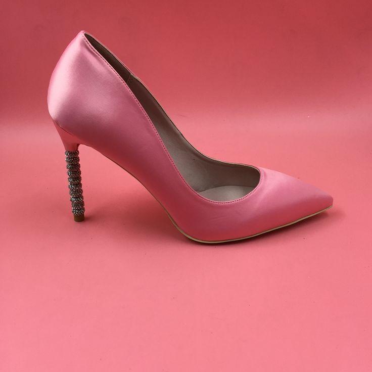 >> Click to Buy << Pink Satin Women Pumps For Brides Rhinestones Stilettos 10CM High Heels Pointed Toe Slip-on Pumps Silver Heels zapatos novia #Affiliate
