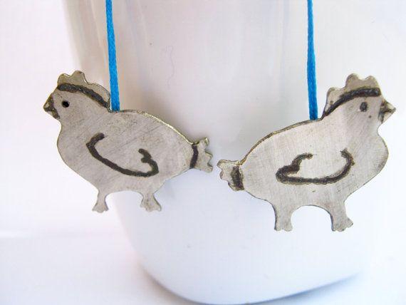 Funny chicken earrings  Alpaca silver earrings  by PikipokaJewelry