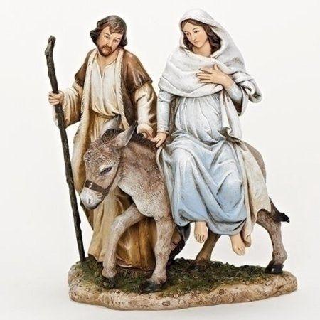 "8"" ""La Posada"" Mary and Joseph on a Donkey Christmas Tabletop Figure Decoration - Walmart.com"