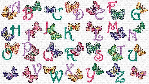 cross stitch patterns free printable | Maria Diaz Designs: BUTTERFLY ALPHABET (Cross-stitch chart)
