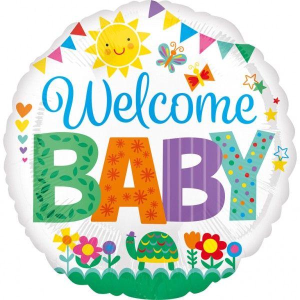 Poze Balon botez folie metalizata 43cm Welcome Baby Cute