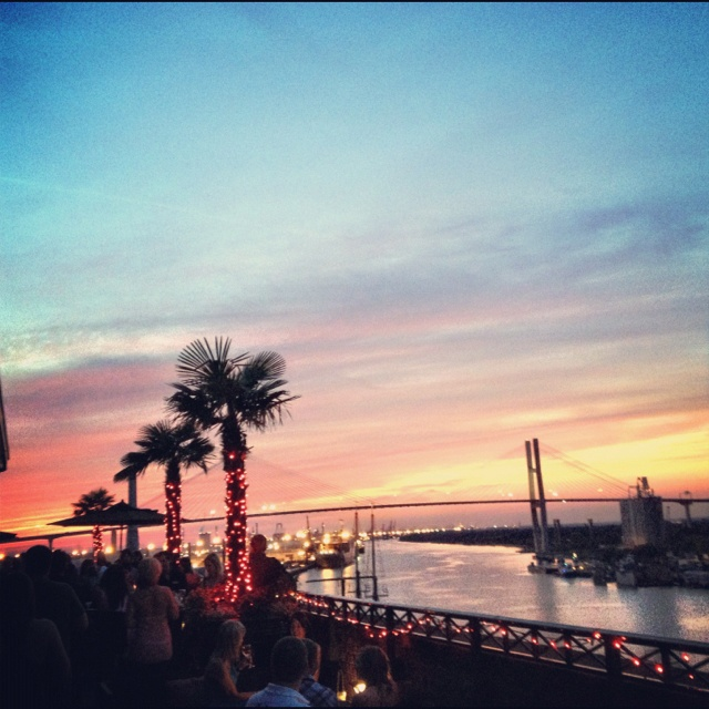 The amazing sunset view at Rocks on the Roof at The Bohemian Hotel in Savannah.