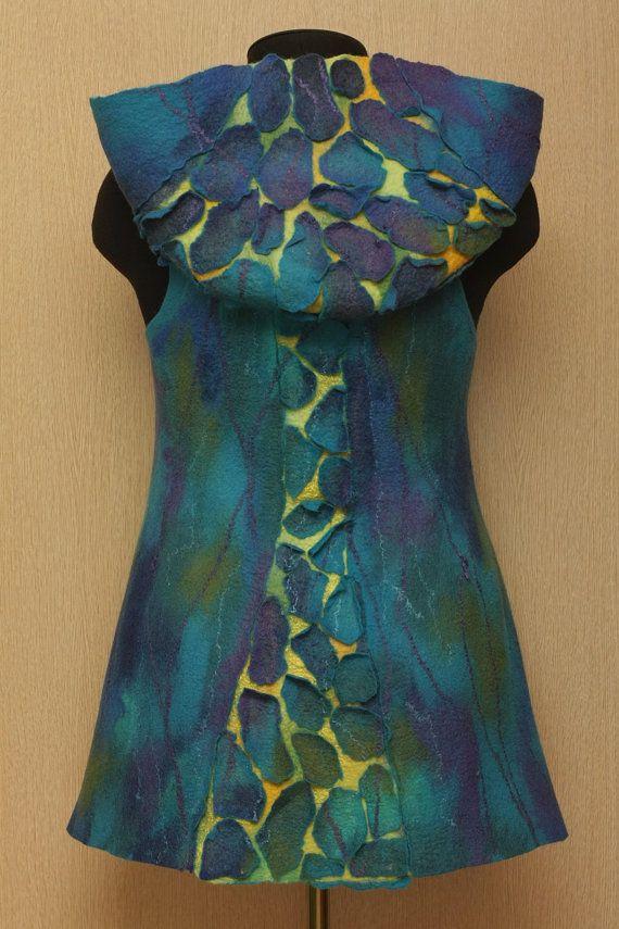 Chameleon / Felted Clothing / Vest by LybaV on Etsy, $200.00
