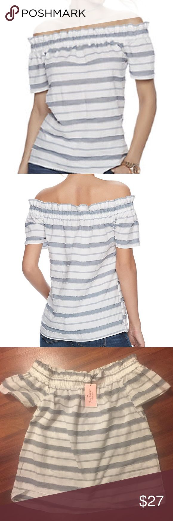 Declutter Event💃Juicy Couture Top ✨Off  Shoulder Price FIRM unless bundled‼️Juicy Couture is BACK and you won't see these prices again! ✨NWT✨Striped Nautical and feminine Juicy Couture top‼️Off  the shoulder is this seasons on fleek look . You'll love the trendy design and fit of this women's Juicy Couture 100% cotton.💥💥💥It's super gorgeous ‼️ Juicy Couture Tops