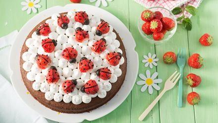 Aus Erdbeeren und Lakritz dekorieren wir süße kleine Käfer, die sich auf einen feinen Schokokuchen mit Vanillesahne setzen - fertig ist der Marienkäfer-Kuchen.