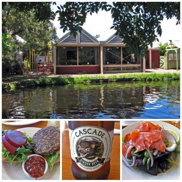 The Salmon Ponds via New Norfolk. Nice little pancake cafe overlooking the grounds.