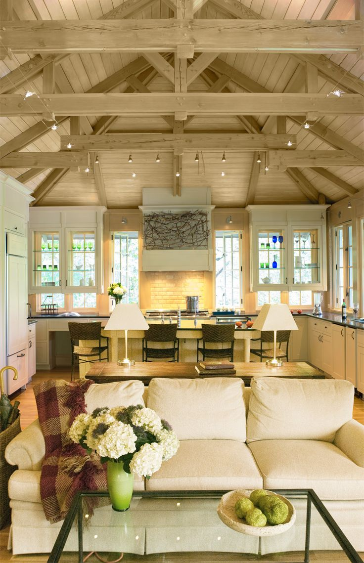 American style kitchen and living room - Donald Lococo Architects Classic Arts And Crafts Tree House