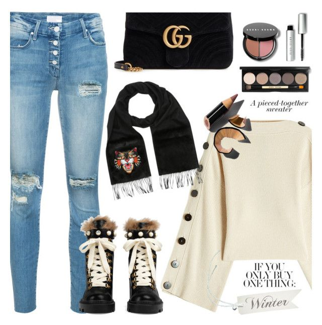 """""""Winter sweaters"""" by jan31 ❤ liked on Polyvore featuring Petar Petrov, Mother, Gucci, Bobbi Brown Cosmetics, jeans, sweaters and anklebooties"""