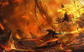 Cadena, batalla, monstruo, arma, guerrero, Arte, fuego