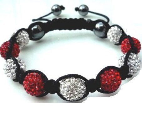 Crystal/Hematite Disco Ball Friendship Bracelets By The Jewels [Red and White with Black string] TJ. $19.99. Shamballa. Save 60%!
