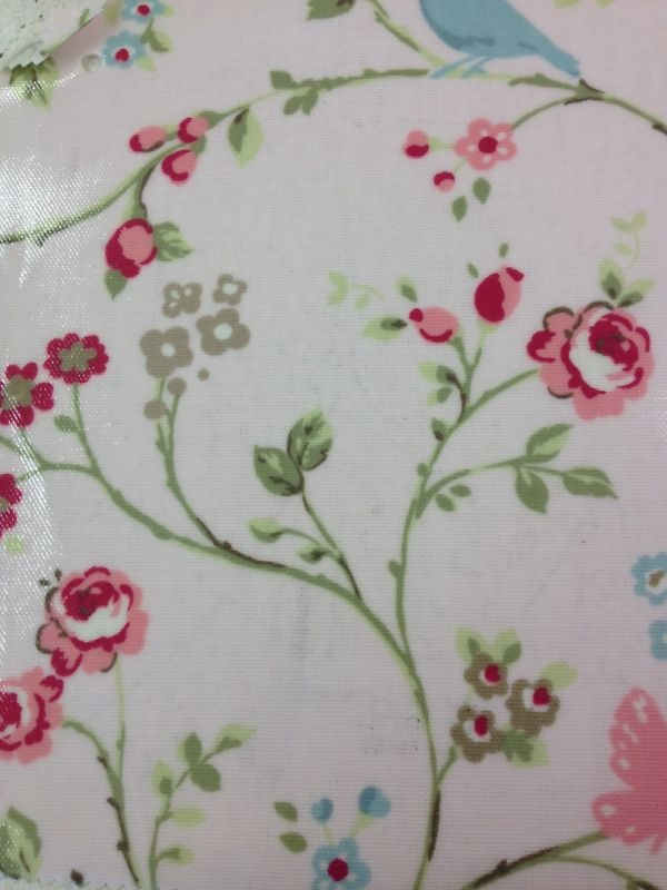 Clarke And Clarke Wipe Clean Oil Cloth   Pale Rose Pink Birds Floral Print!  Per Metre