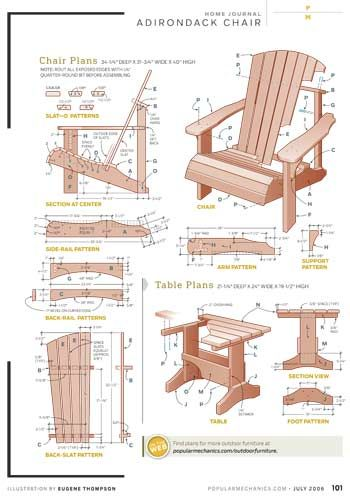 "DIY Adirondack Chair.  I can not wood work, but I would love at least two chairs for the corner of the yard by the garden.  A little table would be nice as well.  Painted a ""fun"" color.  I may have to go plastic this year."