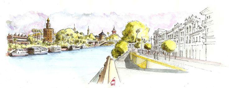 Torre del Oro, Torres sur y norte de Plaza de España, Palacio y Puente de San Telmo desde un punto intermedio de la Calle Betis, Sevilla