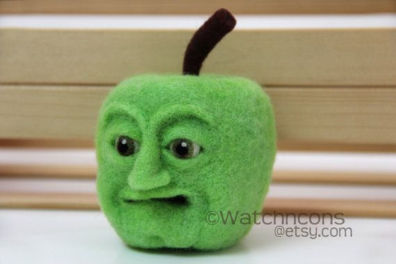 Green Apple with Face Needle Felted