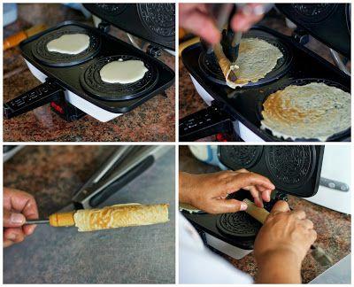 Indonesian Medan Food: Kue Semprong / Kue Kapit / Kue Jepit (Egg rolls)