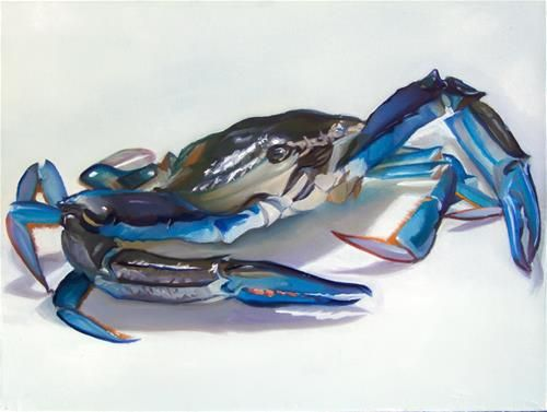 "Daily Paintworks - ""Blue Swimmer"" - Original Fine Art for Sale - © James Dewing. Blue swimmer crab. alla prima still life. Oil on canvas."