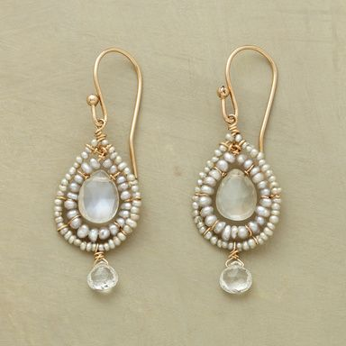 "BLANCO EARRINGS�--�Cultured seed pearls border rare white labradorites, stunning moorings for shimmering white topaz gems drifting below. 14kt goldfill French wires. Exclusive. Handcrafted in USA. 1-1/2""L."