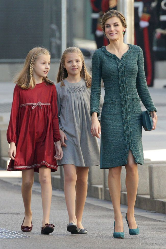 The Spanish Royal Family attend the Opening of the Parliament - The Queen in Felipe Varela