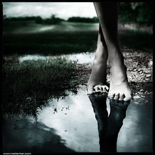 foot in lake