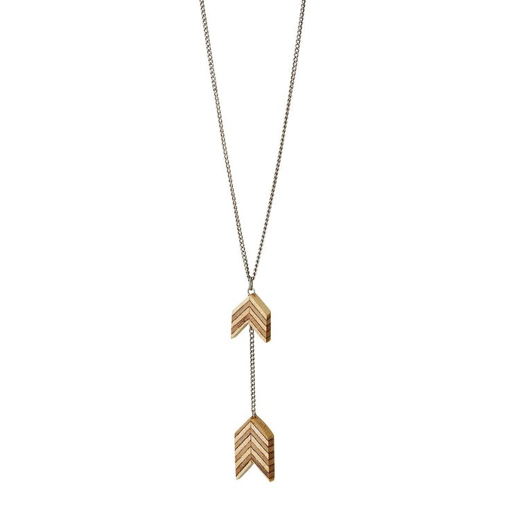 Salvaged Furniture Wood Double Arrow Necklace | recycled wood jewelry | UncommonGoods