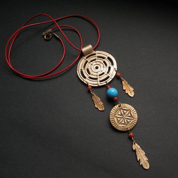 """Dreamcatcher - wisior Łapacz Snów / Fiann / Biżuteria / Wisiory #fiann #dreamcatcher #handmade #jewellery #jewelry #bronzeclay #unique #oneofakind #bronzependant #indian #boho """"łapaczsnów #wisior"""