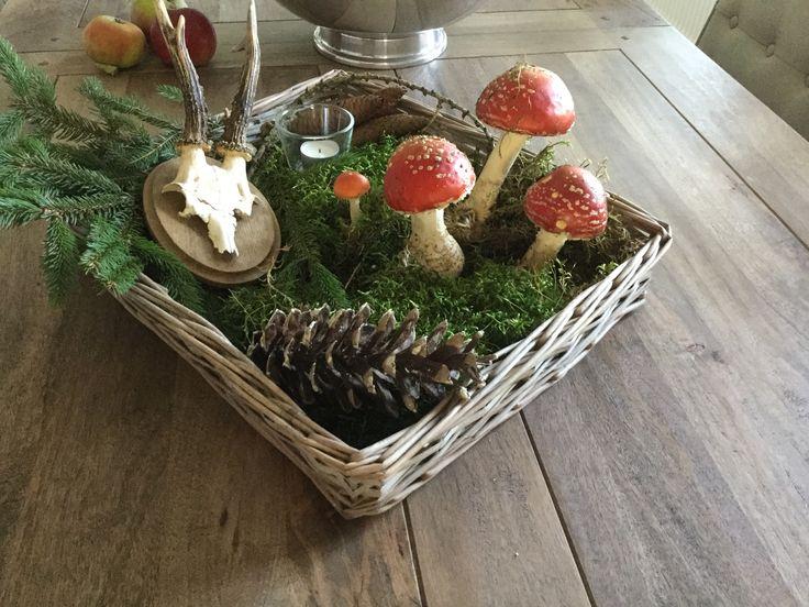 Herbstdeko mit Fliegenpilzen, Pilze im Korb, Deko, Zapfen