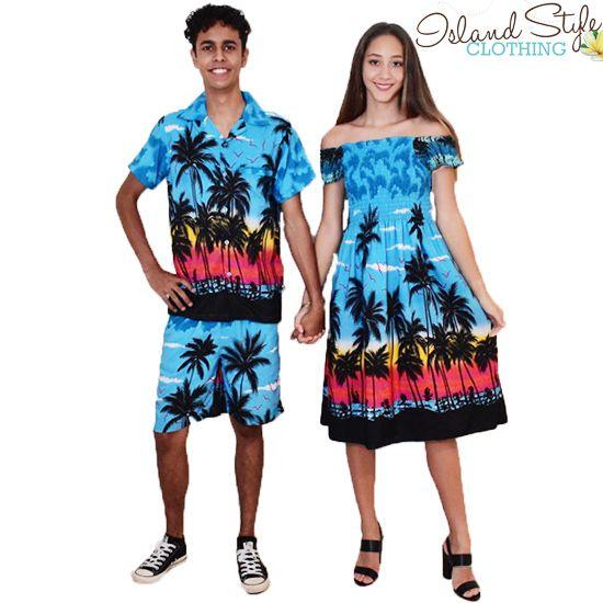 Mens Cabana Set & Ladies Cap Dress - Turquoise Palms Hawaiian Print - Fancy Dress, Cruise, Casual  http://islandstyleclothing.com.au/matching-sets