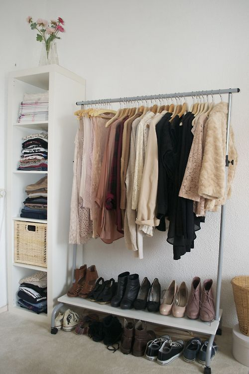 Clothing rack and shelf used as an open closet #nocloset #smallapartment