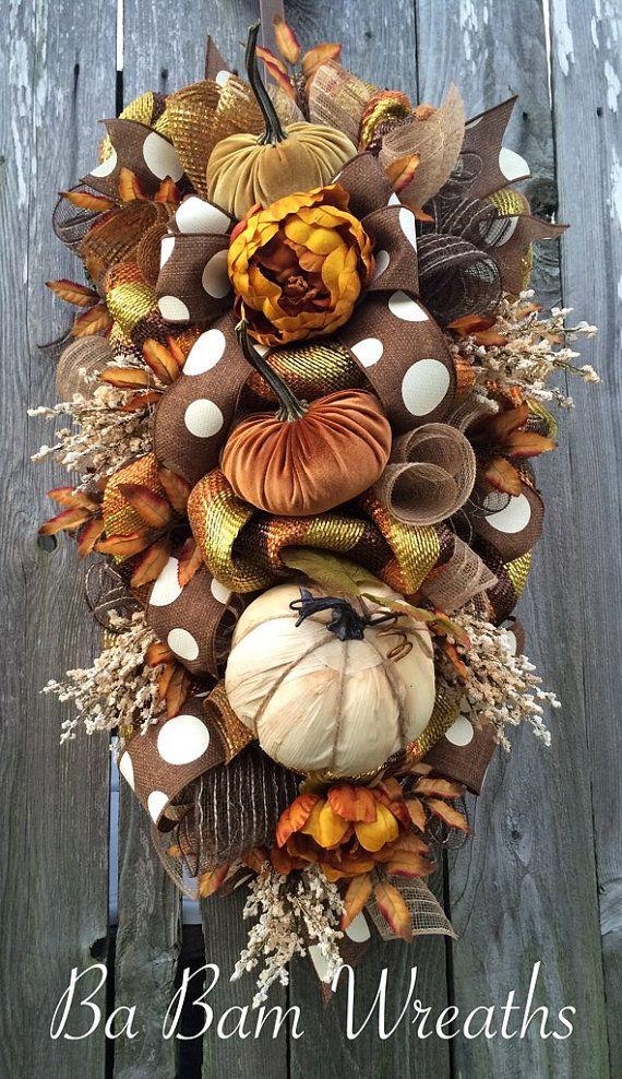 Fall Wreath, Fall Swag, Autumn Swag, Autumn Wreath, Rustic Fall Wreath…