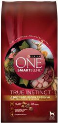Purina ONE SmartBlend Dry Dog Food, True Instinct with Real Turkey and Venison Formula, 27.5-Pound Bag, Pack of 1