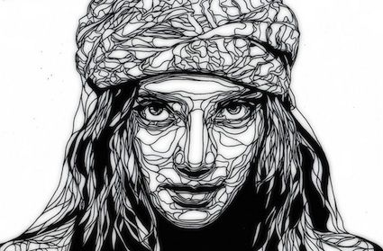 Kris Trappeniers is a stencil artist based in Belgium.  He cuts out his ballpoint drawings by hand, creating intricate stencils for use on vinyl, canvas, cardboard, wood and walls.