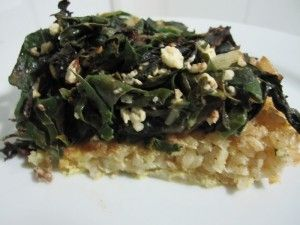 Silverbeet pie with rice crust