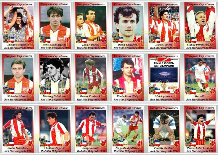 Red Star Belgrade team stickers for the 1991 European Cup Final.
