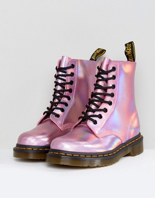 4cc5bf261b7c Dr Martens Leather Holographic Pink Lace Up Boots | Shoes | Doc martens  boots, Shoes, Dr martens boots