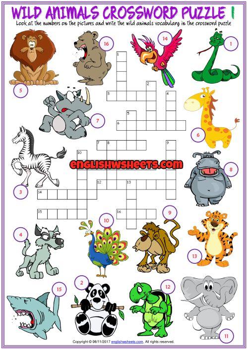 Animals Esl Printable Vocabulary Worksheets Em 2020 Com Imagens