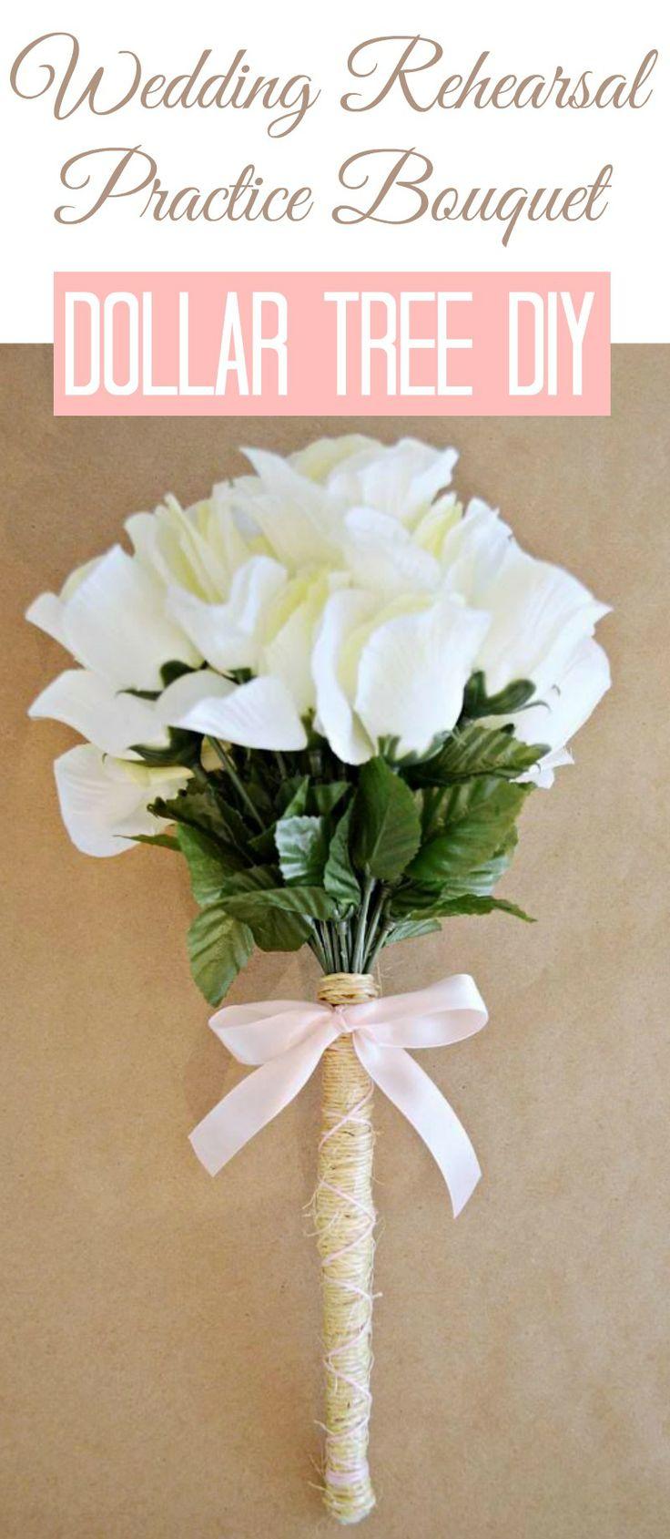 Wedding Idea: Diy Practice Rehearsal Bouquet with Dollar Tree Flowers #wedding #weddingidea