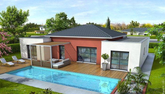 Les lignes originales de cette maison moderne vous séduiront. L'association des toits plats à la toiture traditionnelle apportent une allure très contemporaine à ce modèle.