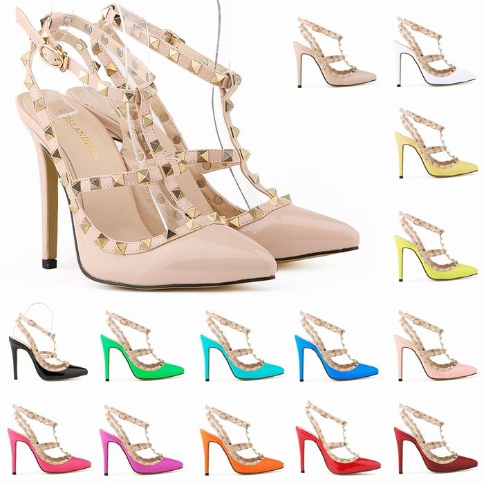 Pas cher rivets de mode chaussures pointu Moraillon Toe mince talons des sandales rivet valentin à talons hauts sandales féminines ont souligné chaussures à bout 302 5PA, Acheter  Pompes de qualité directement des fournisseurs de Chine:   11.5cm (4,5 pouces) Hauteur de talon       8 cm (3,1 pouces) Largeur Sole       7 cm (2,7 pouces) Arbre Hauteur