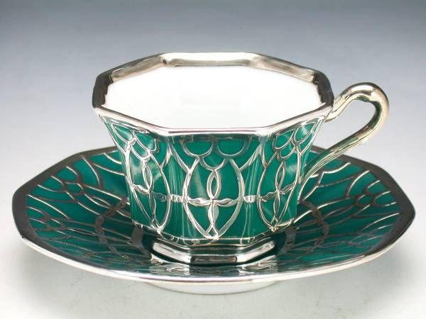 Deco Teacup and Saucer ~ an intricate set of emerald green with silver…