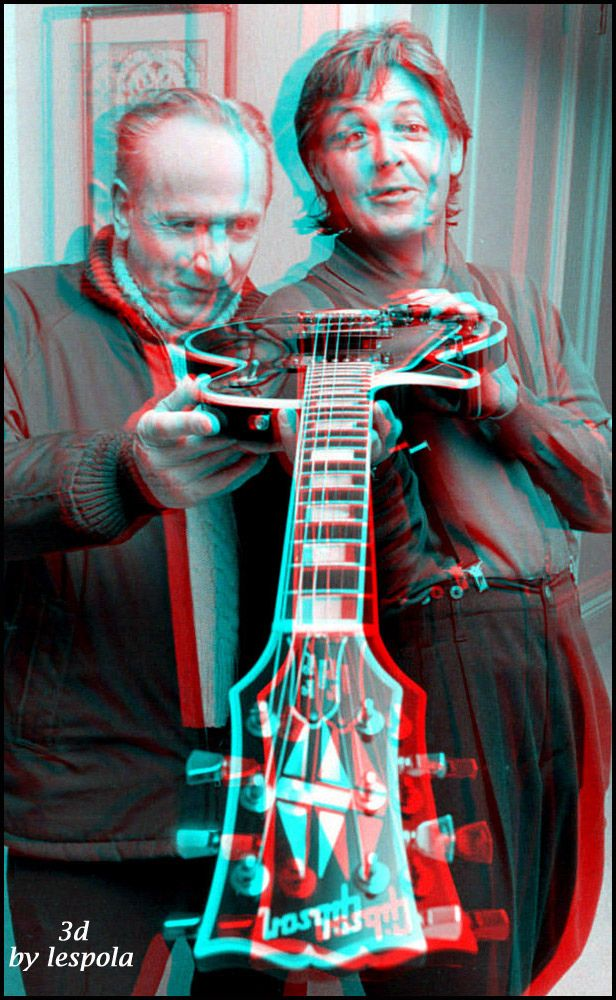 3D Picture of the Day: The Beatles' McCartney and Les Paul